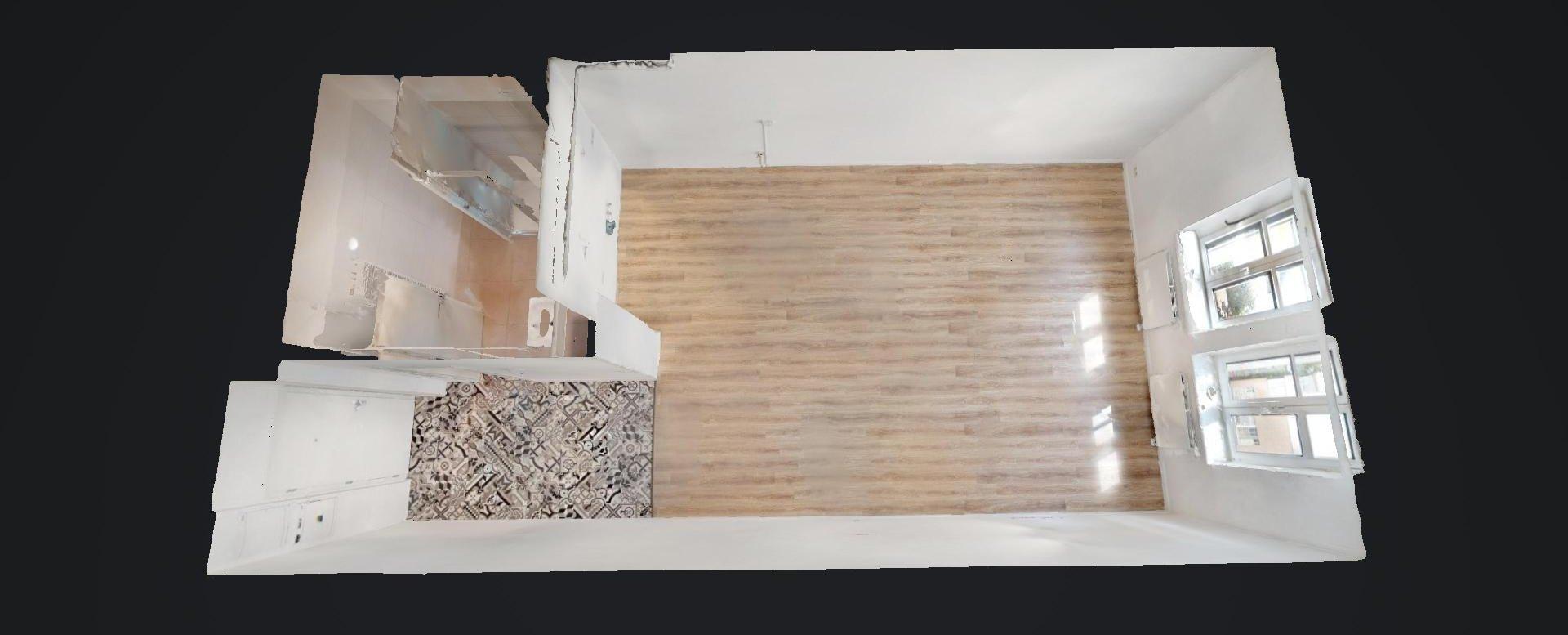 3D pôdyrys 1-izbového bytu na Beskydskej 10 v Bratislave