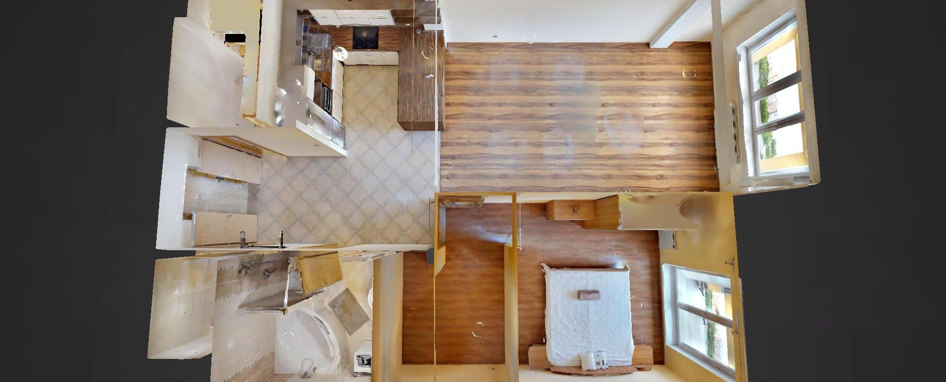 3D pôdorys 2-izbového bytu na Budatínskej v Petržalke