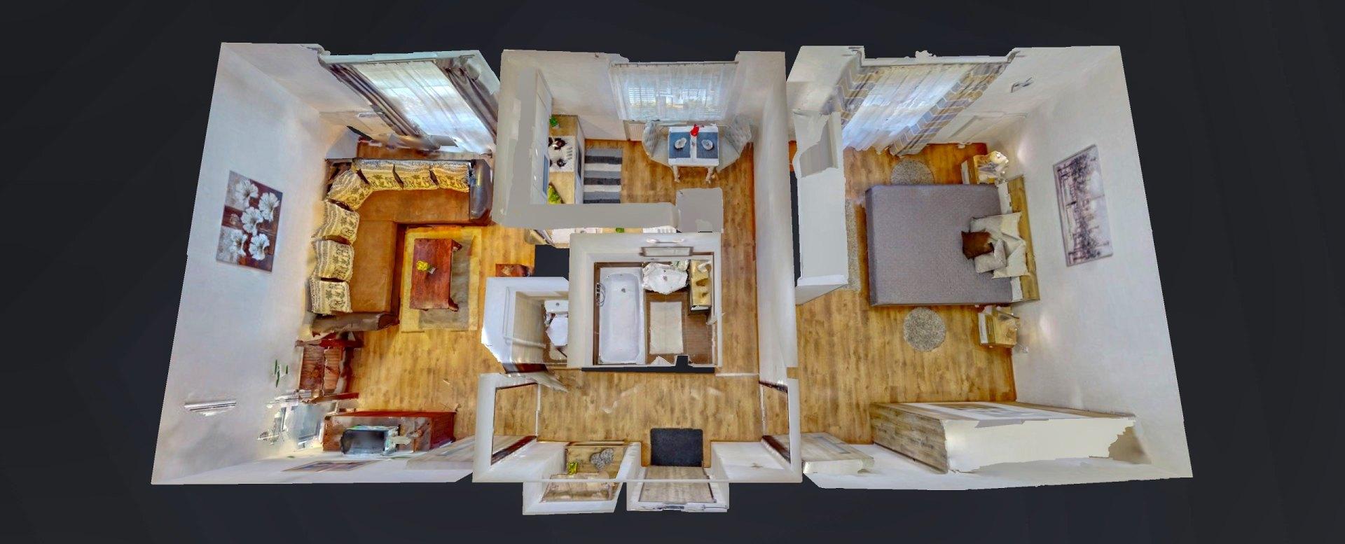 3D pôdorys 2-izbového bytu na ulici Hlinkova, Košice - Sever