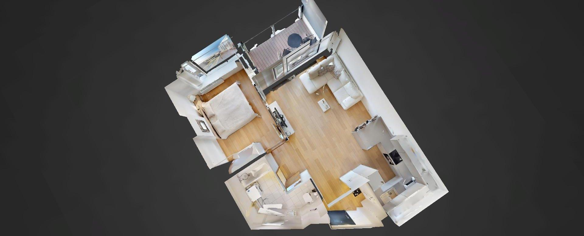 3D pôdorys 2-izbového bytu v Panorama Towers - Eurovea City