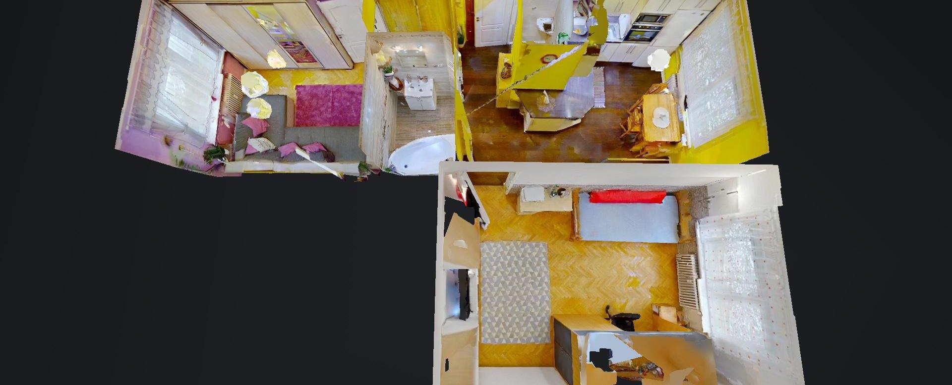 3D pôdorys 2-izbového bytu na Školskej v Čadci