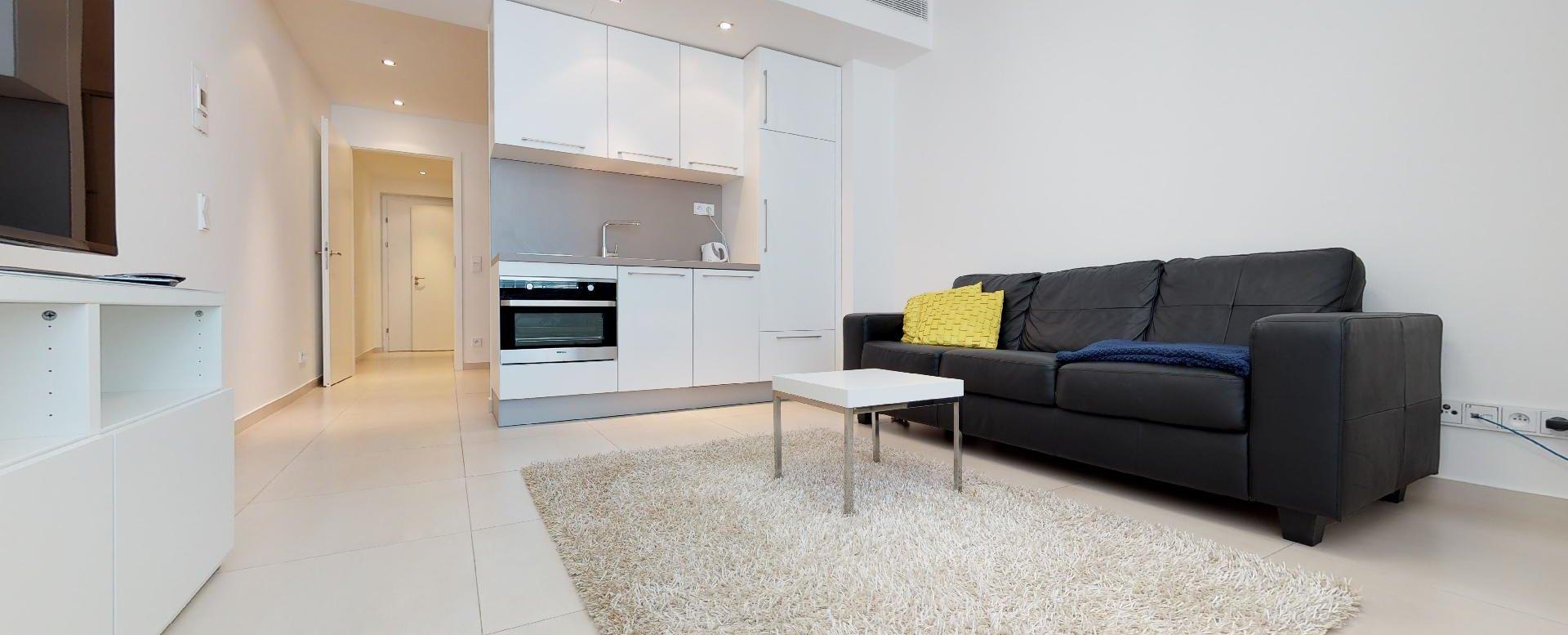 obývačka s kuchynským kútom a tv