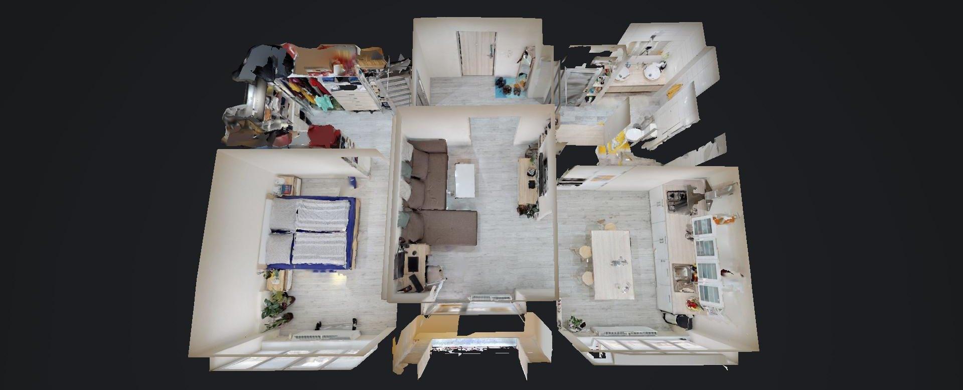 3D pôdorys 2-izbového bytu v Žiline na bulvári