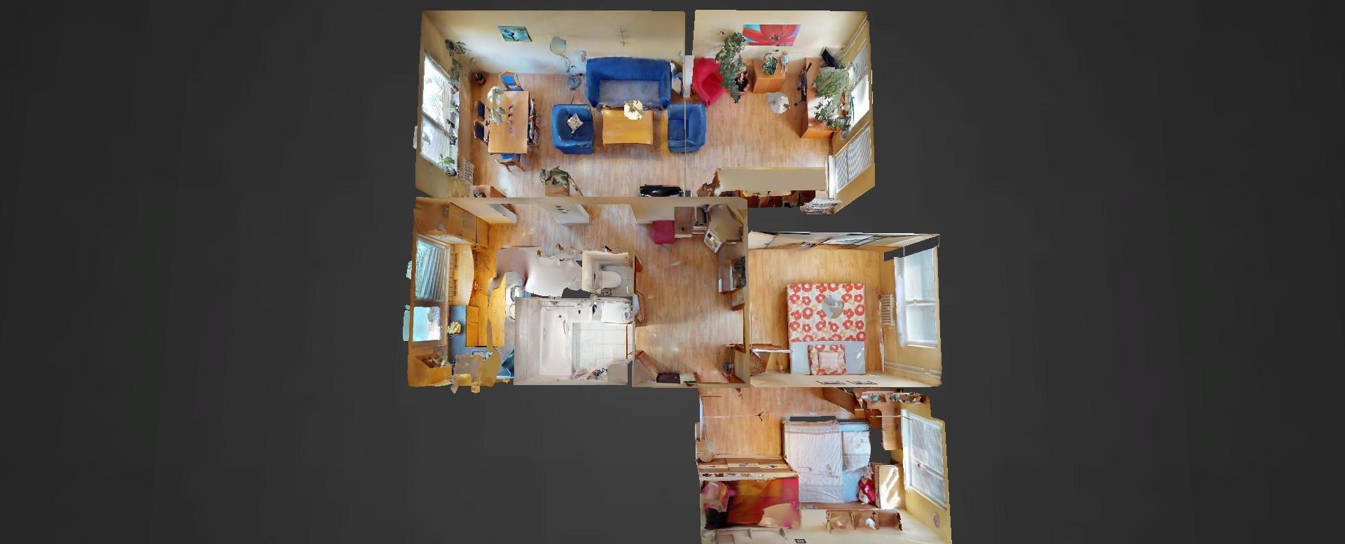 3D pôdorys 4-izbového bytu na Lachovej v Petržalke