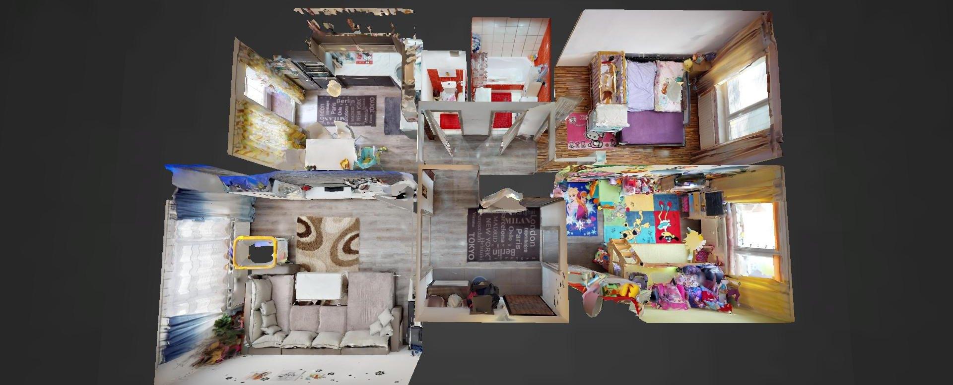 3D pôdorys 3-izbového bytu v Čadci