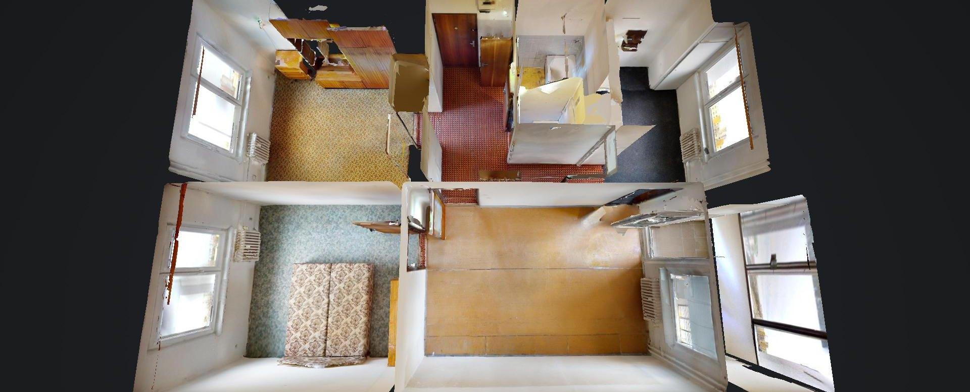 3D pôdorys 3-izbového bytu na Rajčianskej ulici v Bratislave - Vrakuňa
