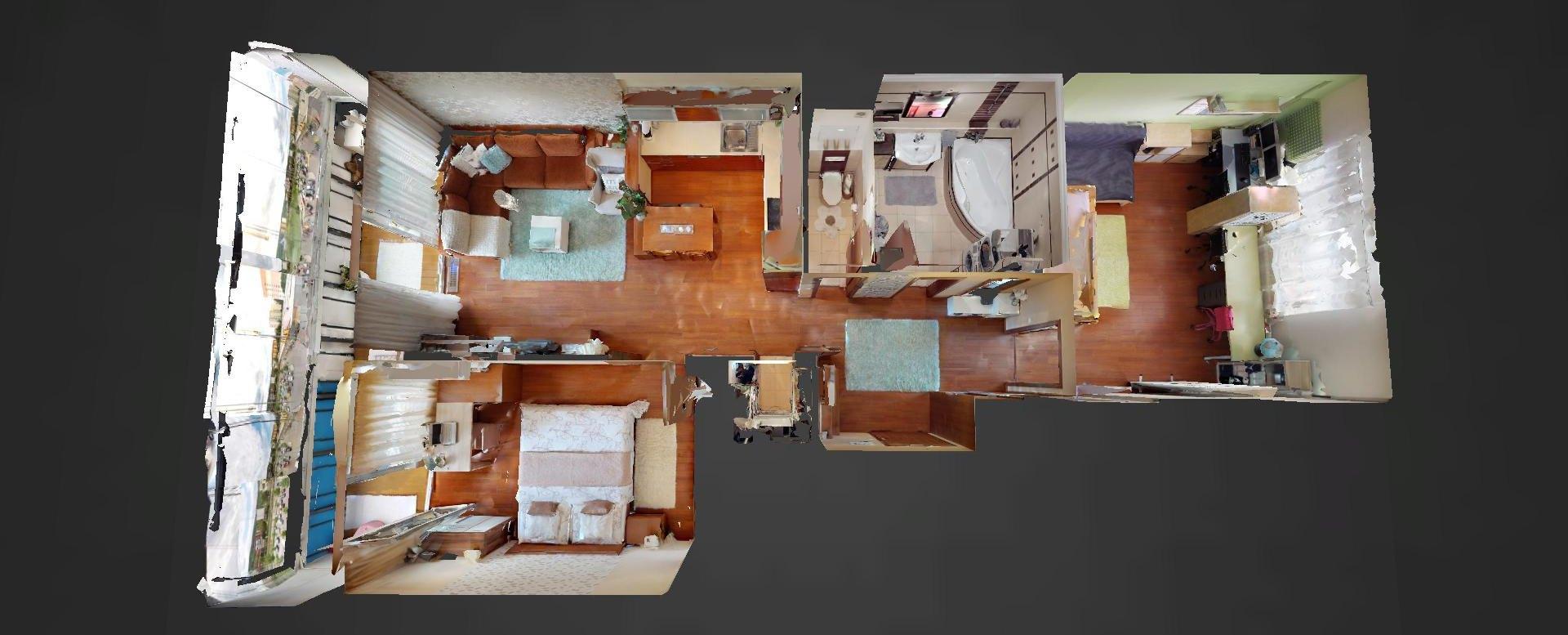 3D pôdorys 3-izbového bytu v bytovom dome Rustica