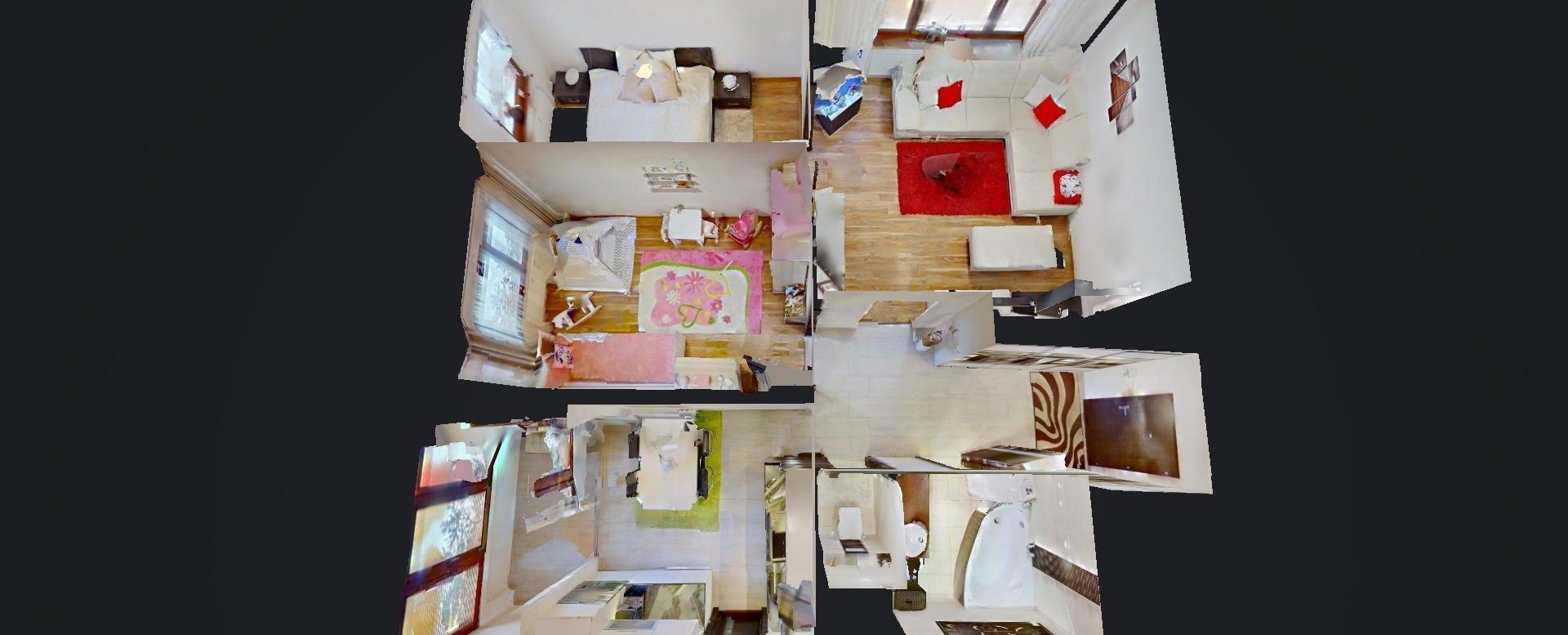 3D pôdorys 3-izbového bytu na  Borovej ulici v Žiline - Solinky