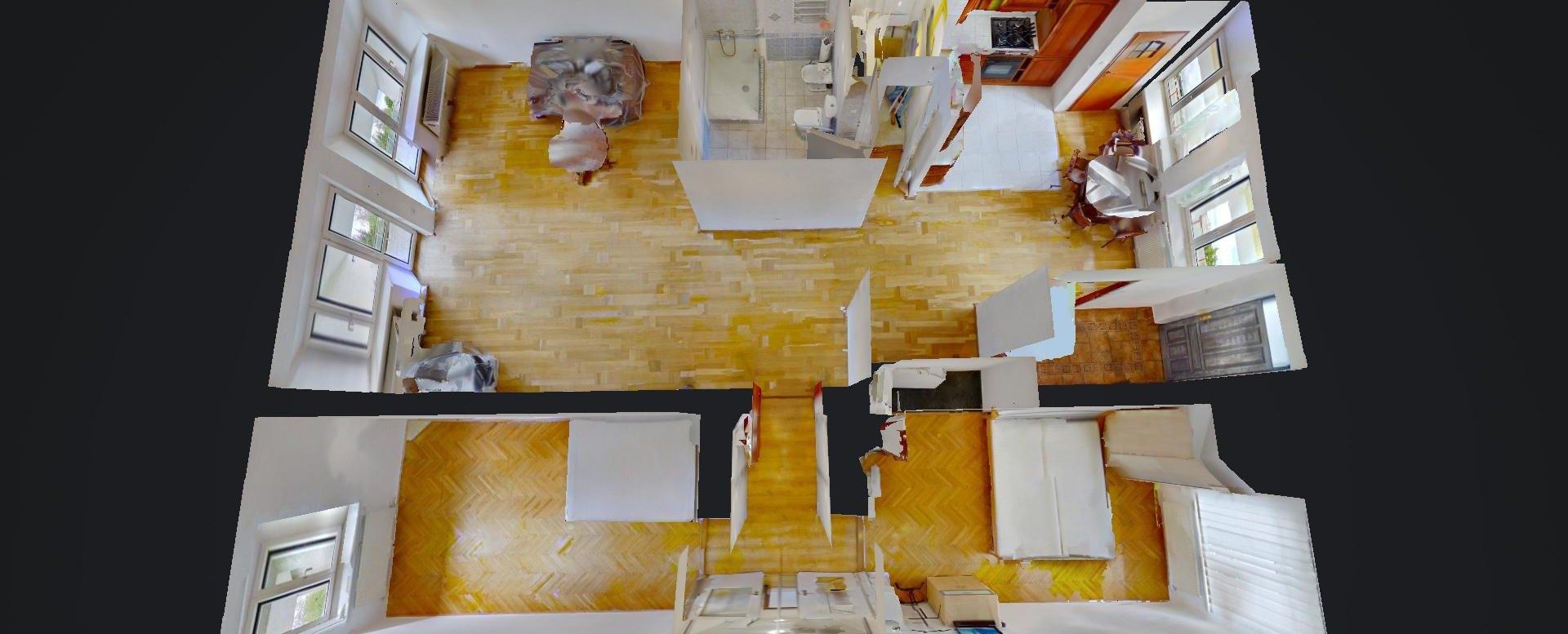 3D pôdorys 3-izbového bytu na Predmestskej ulici v Žiline