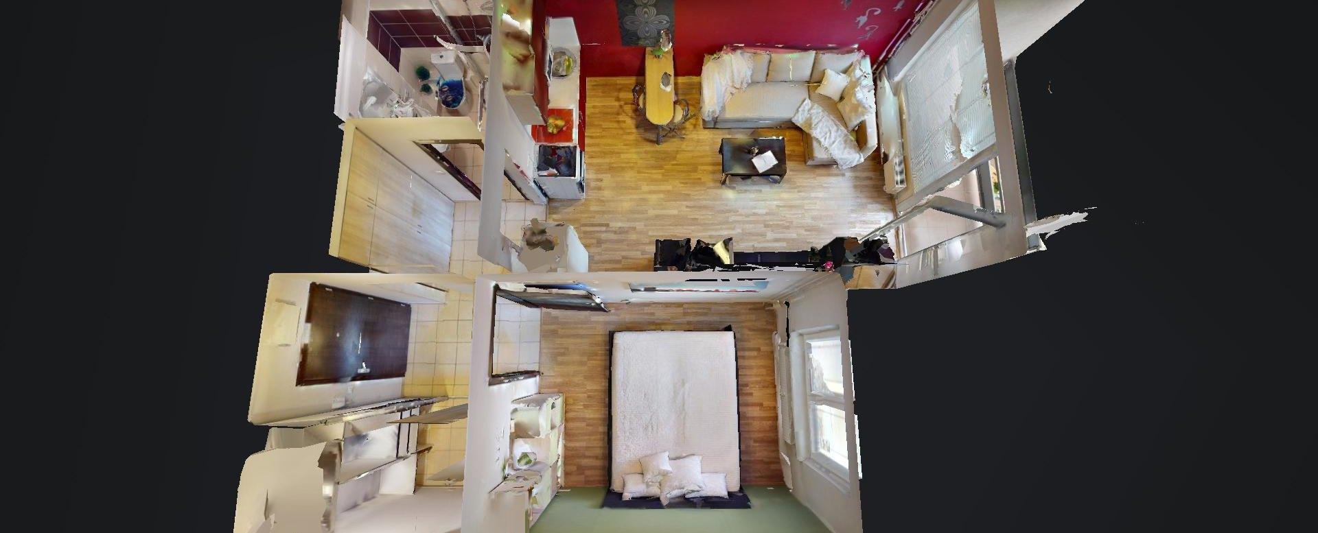 3D pôdorys 2-izbového bytu vo Vlčom hrdle