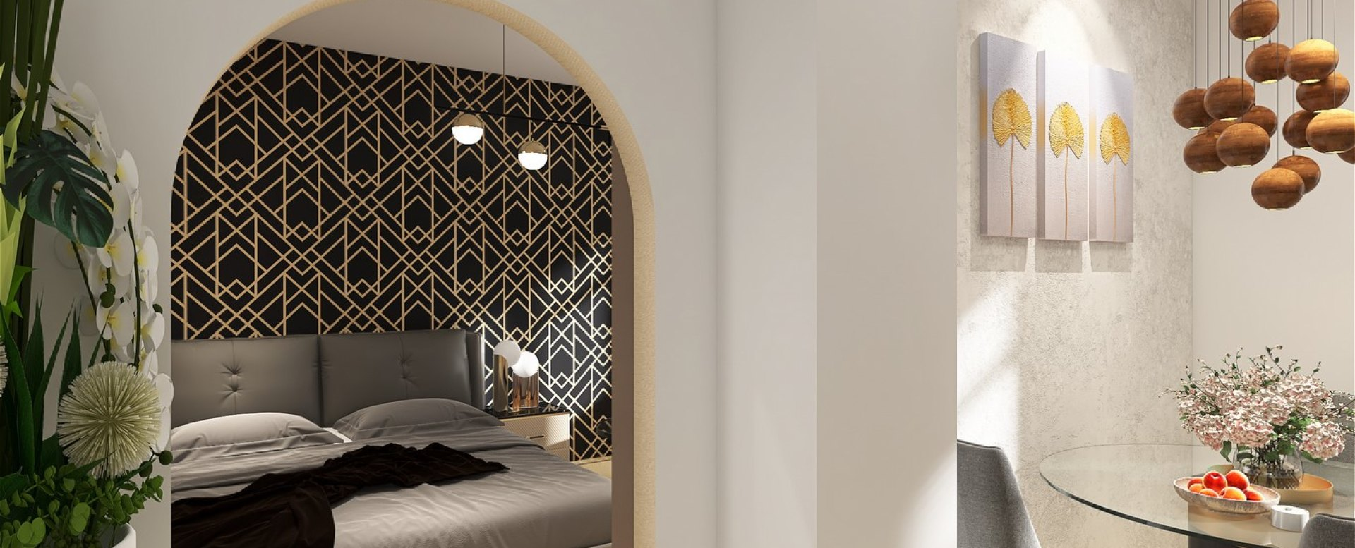 3D vizualizácie kuchyne a vstupu do spálne