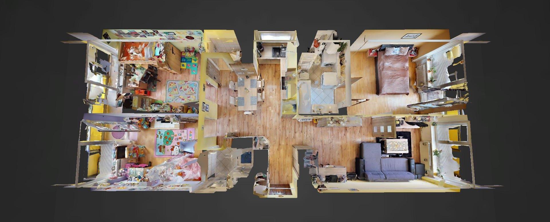 3D pôdorys 4-izbového bytu v obci Vlkanová