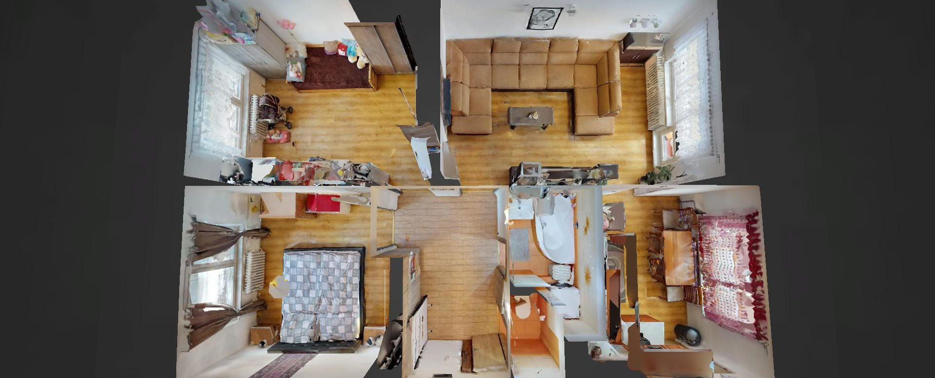 3D pôdorys 3-izbového bytu na ulici Janka Kráľa v Čadci