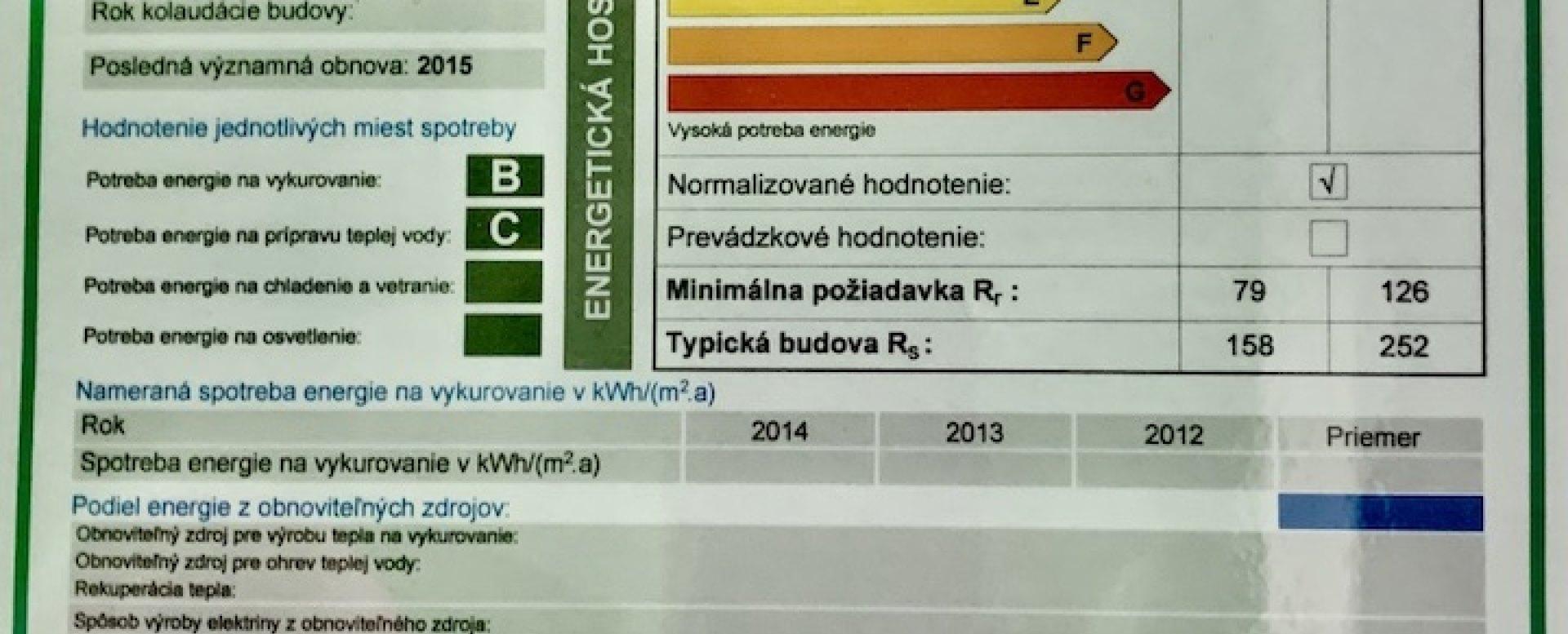 Energetický certifikát bytového domu Vlčie hrdlo 57