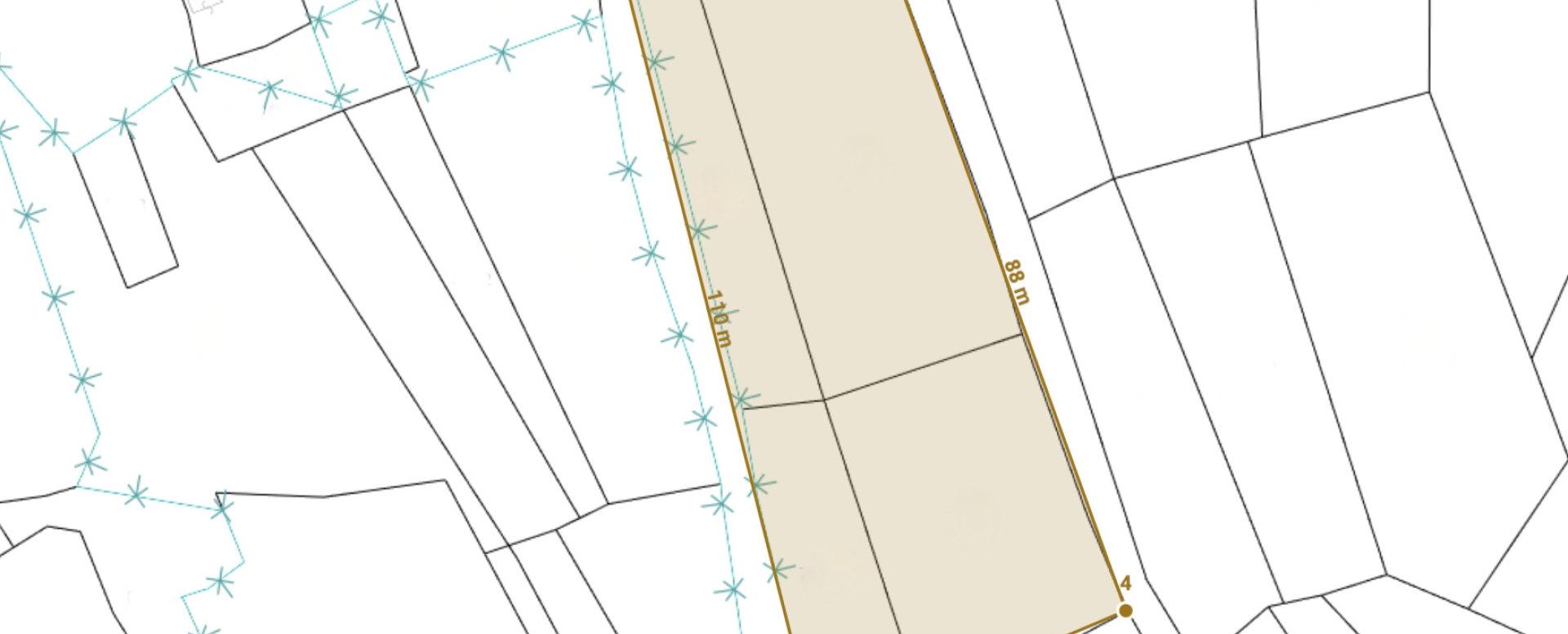 Mapa rekreačného pozemku v Oščadnici