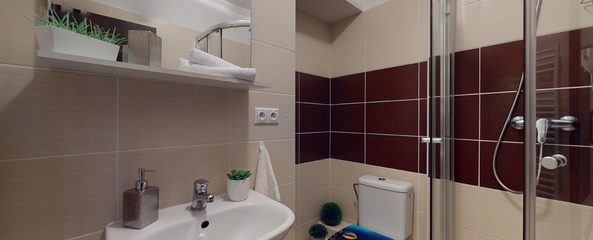 Kúpeľňa so sprchovým kútom a WC v 2-izbovom byte vo Vlčom hrdle