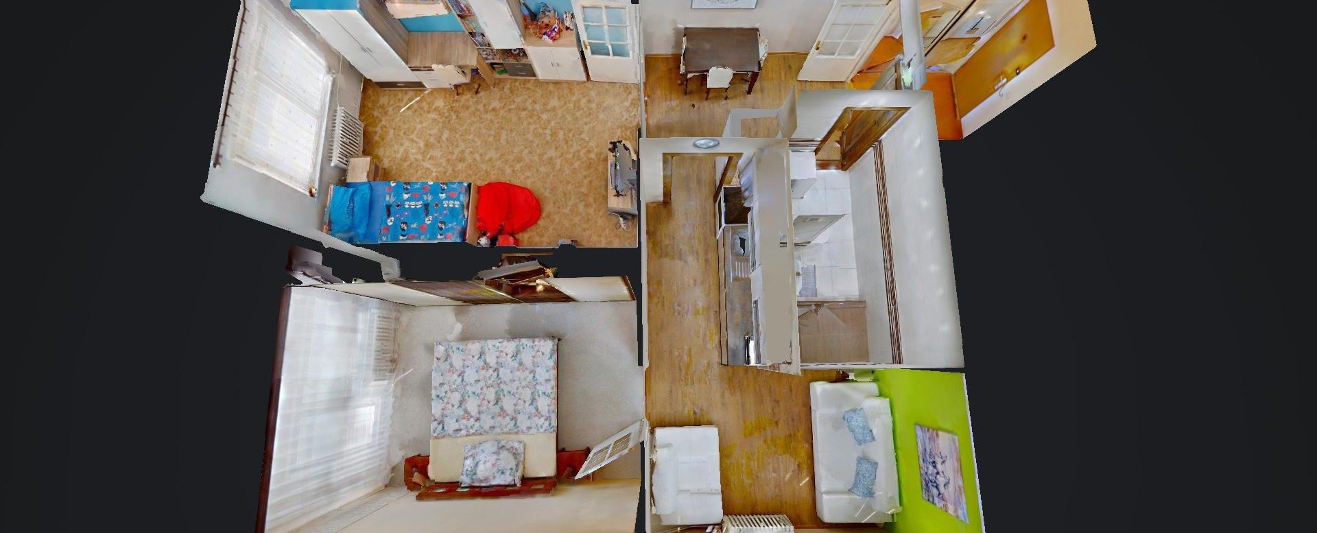 3D pôdorys 2-izbového bytu na Jašíkovej v Čadci