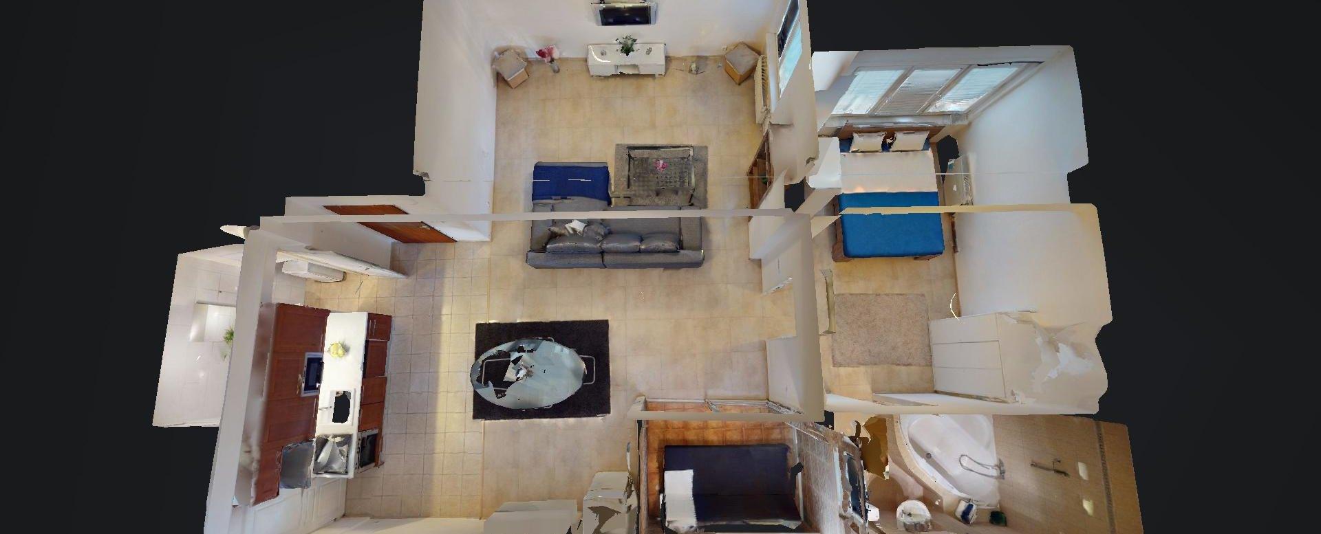3D pôdorys 2-izbového bytu v Manderláku