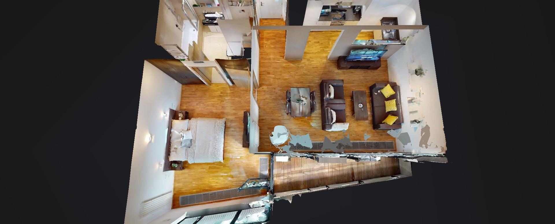 3D pôdorys 2-izbového apartmánu v River Parku