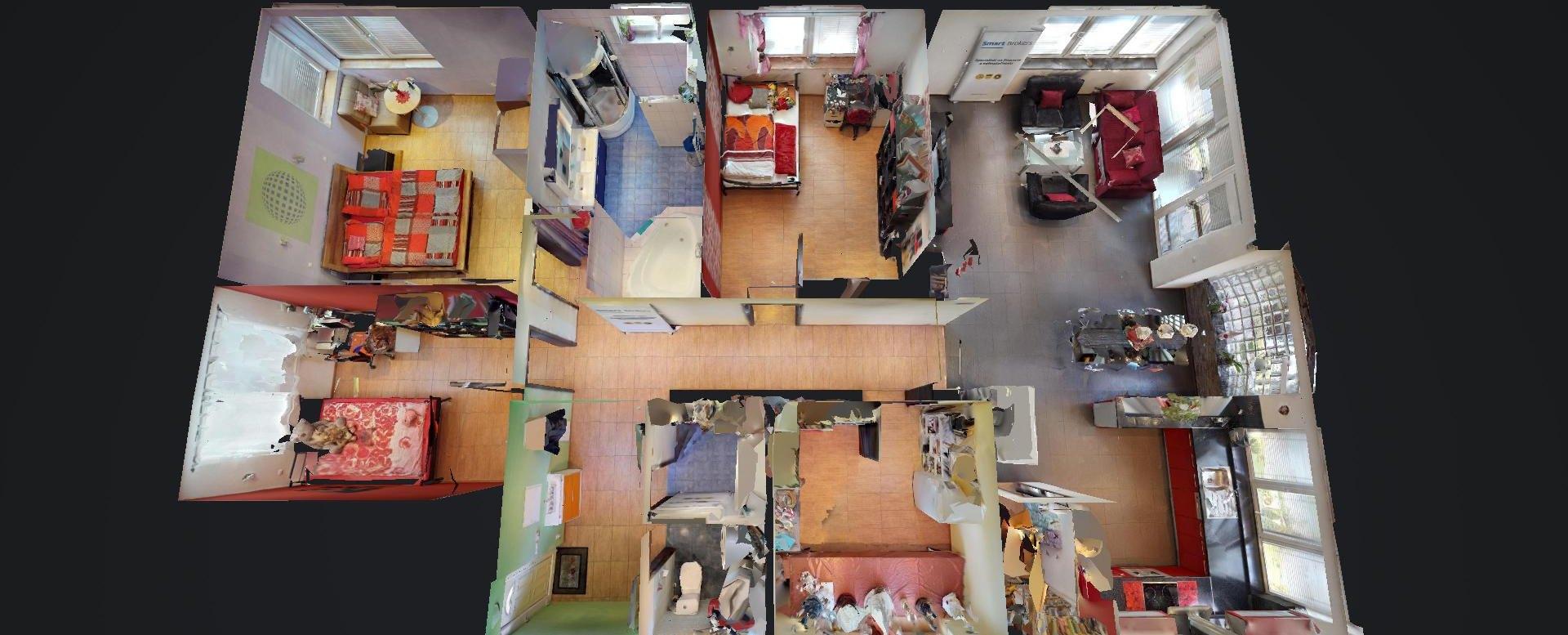 Obývacia izba s ku3D pôdorys 5-izbového rodinného domu v Čečínskej Potôni