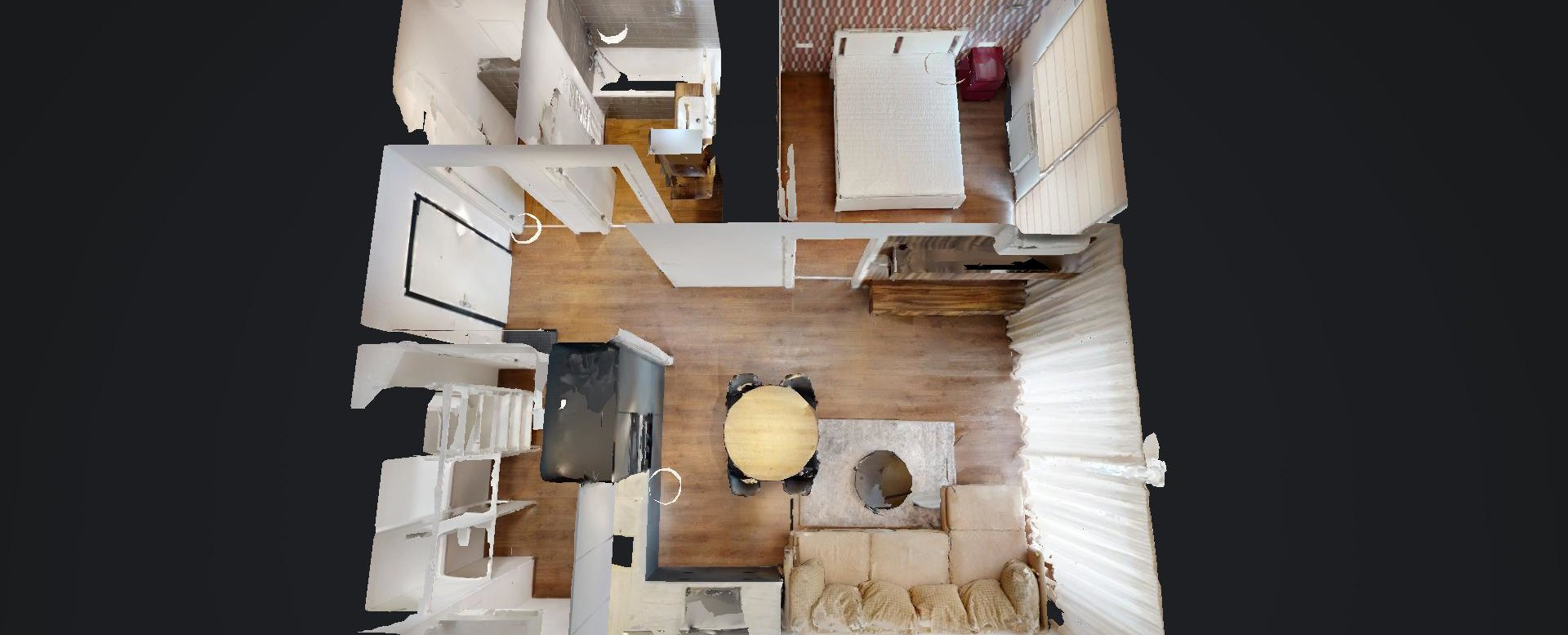 3D pôdorys 2-izbového bytu v Urban Residence
