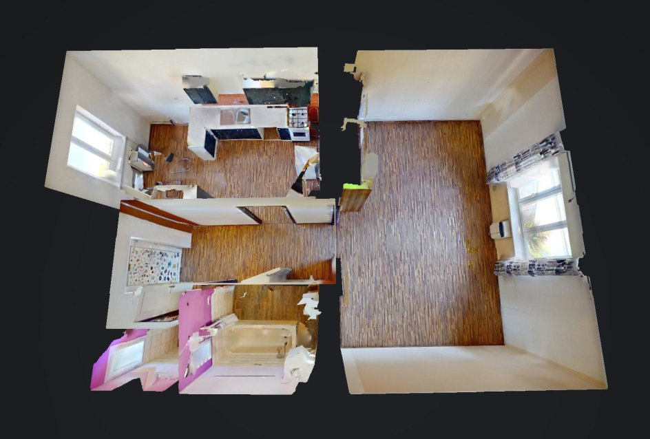 3D pohľad na 1-izbový byt so samostatnou kuchyňou