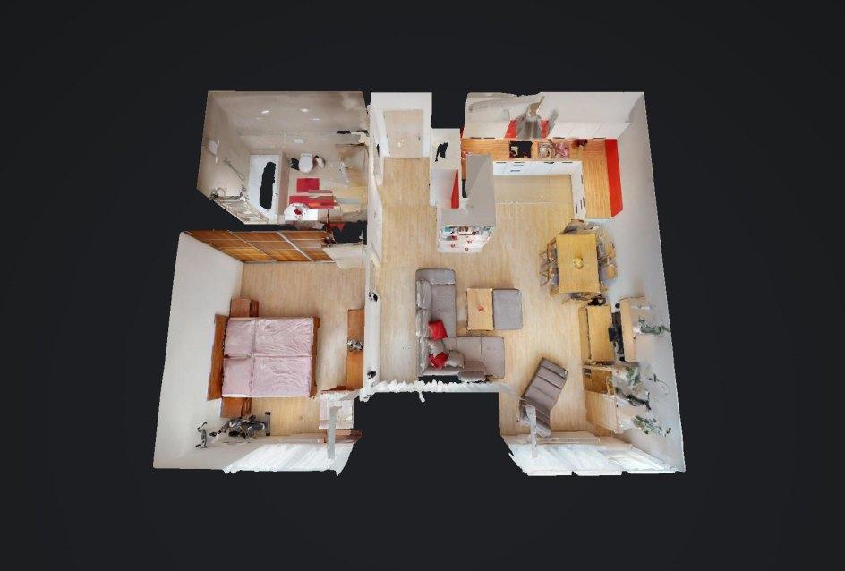 3D pôdorys 2-izbového bytu v Devínskom Dvore