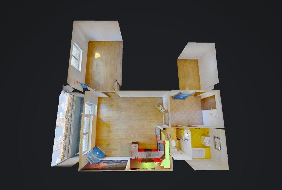 3D pôdorys 2-izbového bytu na ulici Jána Kollára v Čadci