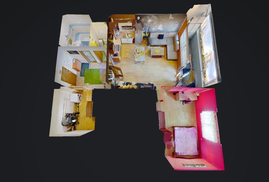 3D pôdorys 2-izbového bytu na ulici Jana Kollára v Čadci