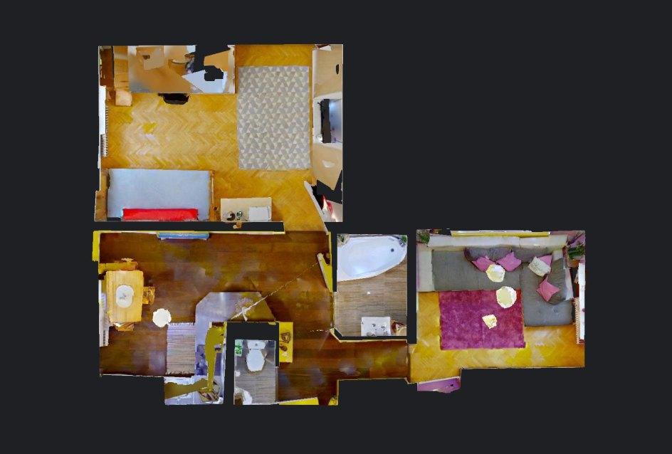 Pôdorys 2-izbového bytu na Školskej v Čadci
