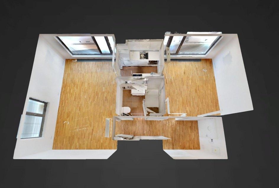 3D pôdorys 2-izbového bytu na Strážnickej ulici v Starom meste Bratislavy