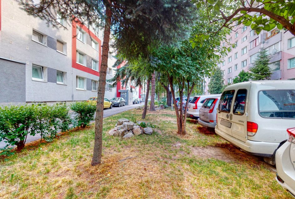 Zeleň pri ceste a bytovom dome