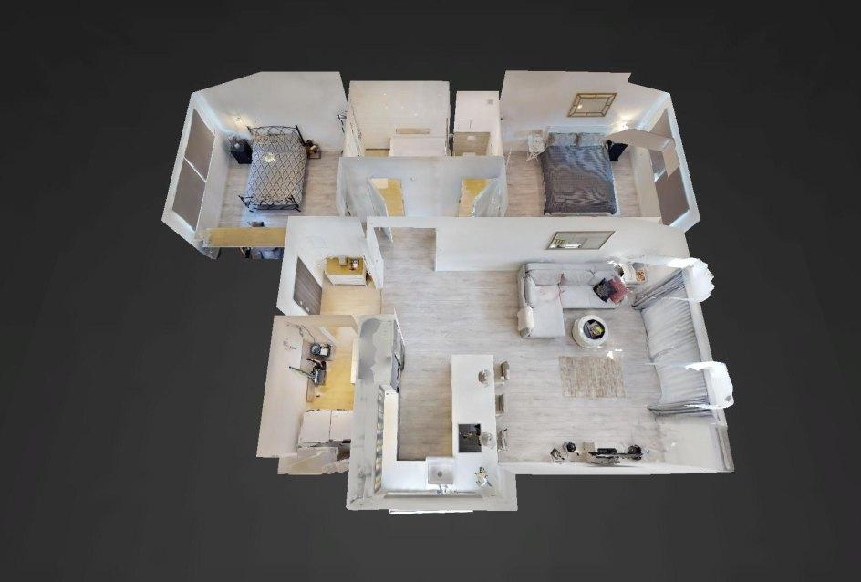 3D pôdorys 3-izbového bytu v Bernolákove