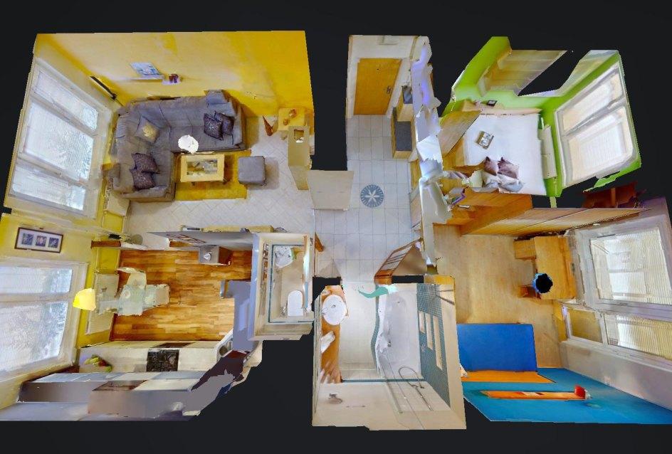 3D pôdorys bytu pohľad zhora