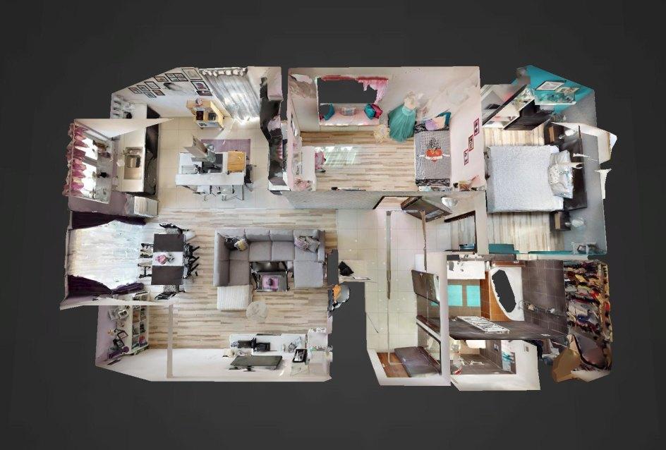 3D pôdorys 3-izbovégo bytu v Kysuckom Lieskovci
