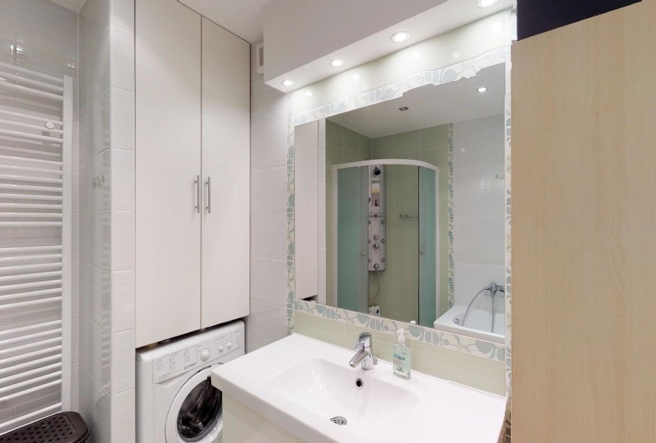 Kúpeľňa s práčkou Zariadená obývacia izba v 3-izbovom byte v Kysuckom Lieskovci