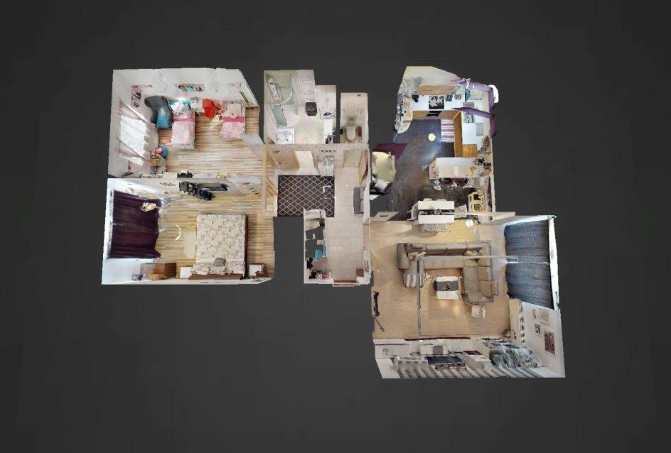 3D pôdorys 3-izbového bytu v Lieskovci