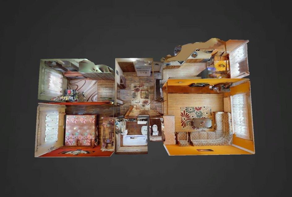3D pôdorys 3-izbového bytu na Okružnej ulici v Čadci - Kyčerka