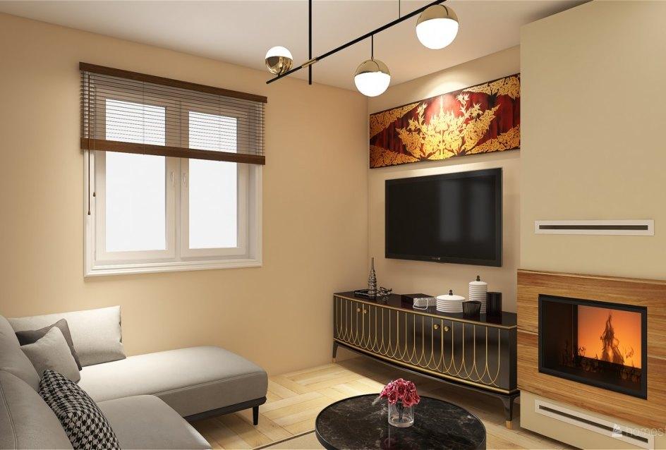 3D vizualizácia obývacej izby s krbom
