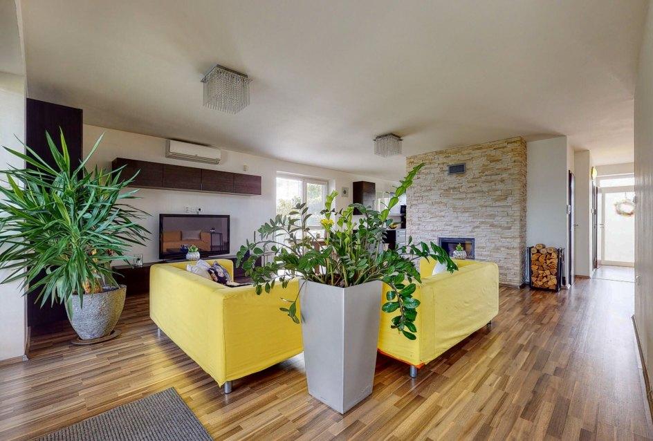 Pohľad v obývacej izbe na kvetiny a vstup do domu