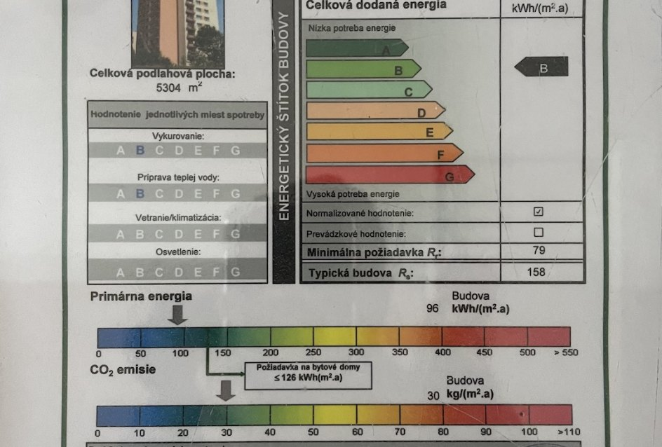 Energetický štítok bytového domu na ulici Bajzová v Žiline