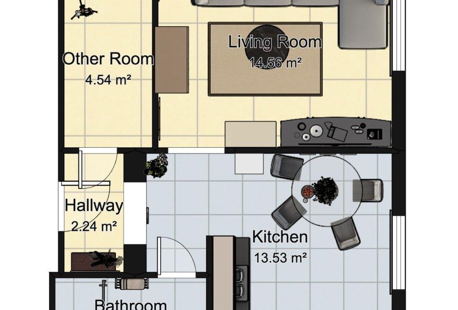Pôdorys 1-izbového bytu