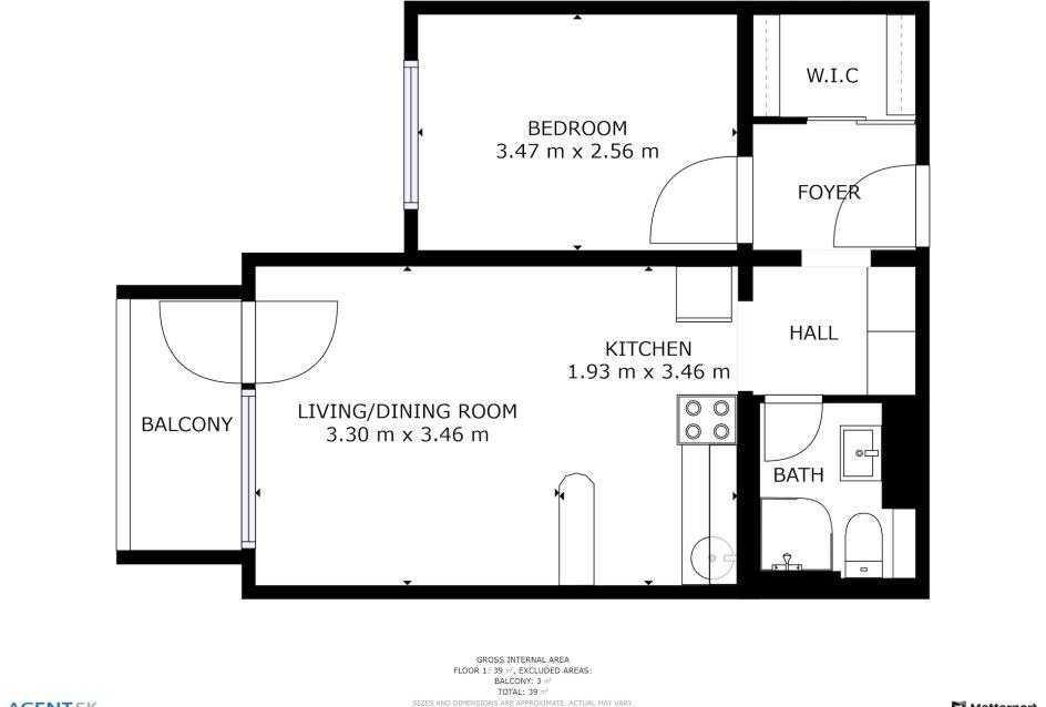 Pôdorys 2-izbového bytu vo Vlčom hrdle