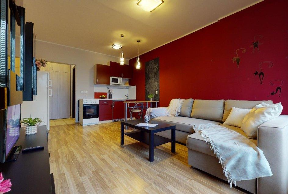 Pohľad z lodžie do obývacej izby v 2-izbovom byte vo Vlčom hrdle