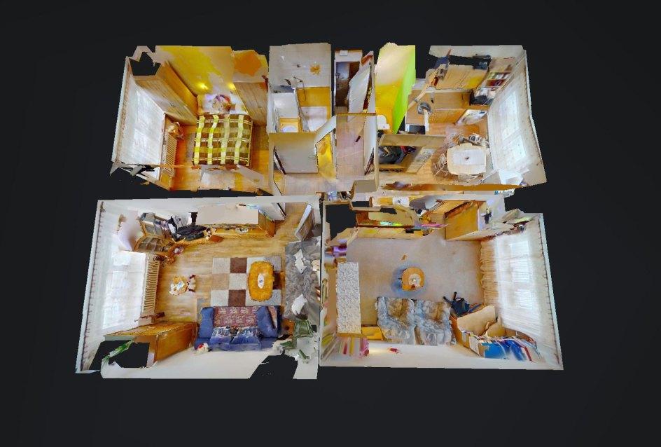 3D pôdorys 3-izbového bytu na Hurbanovej ul. v Čadci