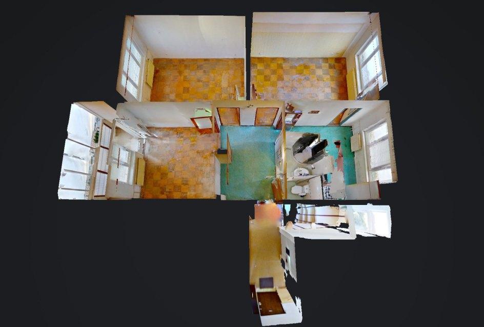 3D pôdorys 3-izbového bytu v pôvodnom stave na Pražskej ulici v Košiciach