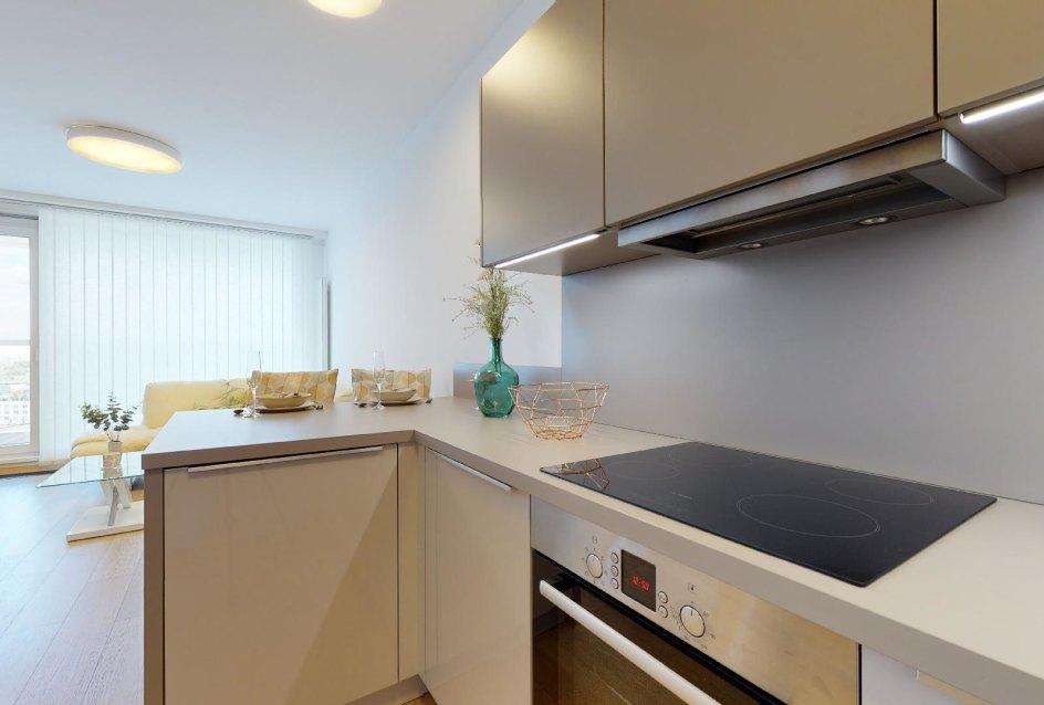 Pohľad z kuchyne v 2-izbovom byte v Panorama Towers - Eurovea City